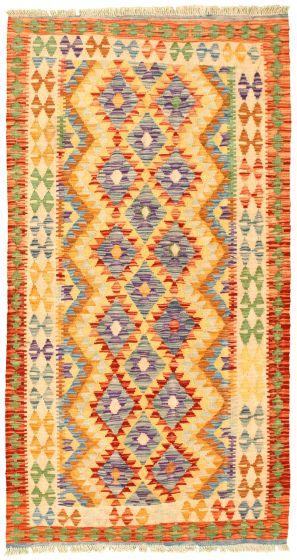 Bordered  Geometric Ivory Area rug 3x5 Turkish Flat-weave 329969