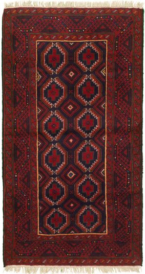 Bordered  Tribal Red Area rug 3x5 Afghan Hand-knotted 333018