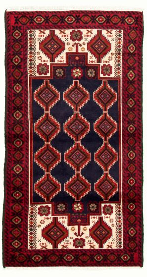 Bordered  Tribal Blue Area rug 3x5 Afghan Hand-knotted 334812