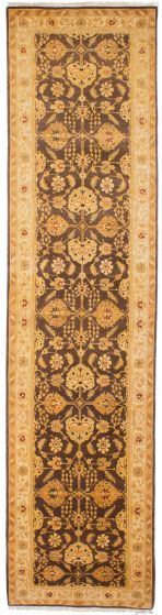 Traditional Brown Runner rug 12-ft-runner Pakistani Hand-knotted 207781