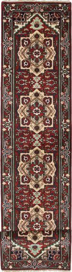 Floral  Traditional Red Runner rug 16-ft-runner Indian Hand-knotted 220631