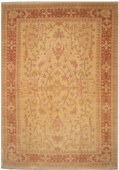 Traditional Yellow Area rug 12x15 Turkish Hand-knotted 206819