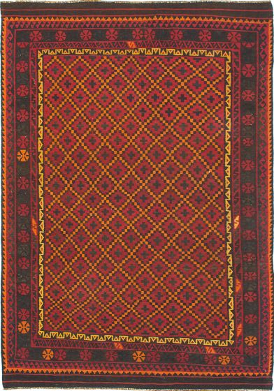 Traditional Red Area rug 6x9 Persian Flat-weave 216494