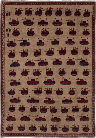 Bordered  Tribal Brown Area rug 6x9 Afghan Hand-knotted 278368