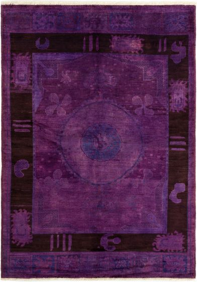 Bordered  Transitional Purple Area rug 5x8 Indian Hand-knotted 280324