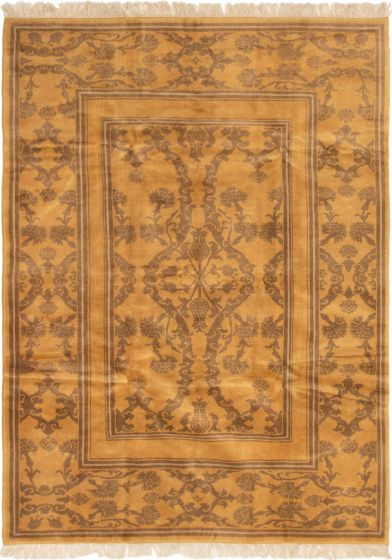 Bordered  Traditional Brown Area rug 6x9 Turkish Hand-knotted 293992