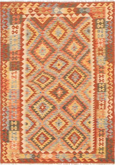 Bordered  Geometric Brown Area rug 3x5 Turkish Flat-weave 297589