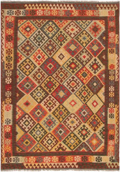 Bordered  Geometric Red Area rug 6x9 Turkish Flat-weave 297714