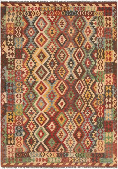Bordered  Geometric Red Area rug 6x9 Turkish Flat-weave 297716