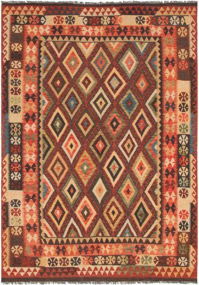 Bordered  Geometric Red Area rug 6x9 Turkish Flat-weave 297717