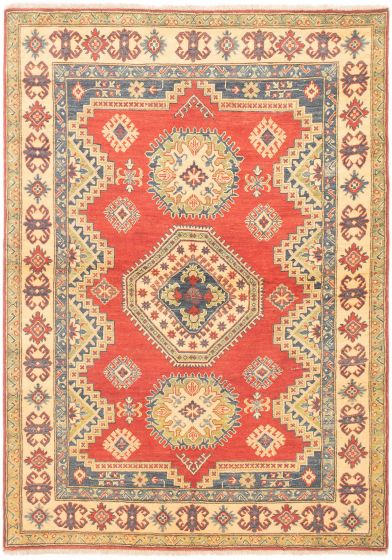 Bordered  Traditional Red Area rug 4x6 Afghan Hand-knotted 305776