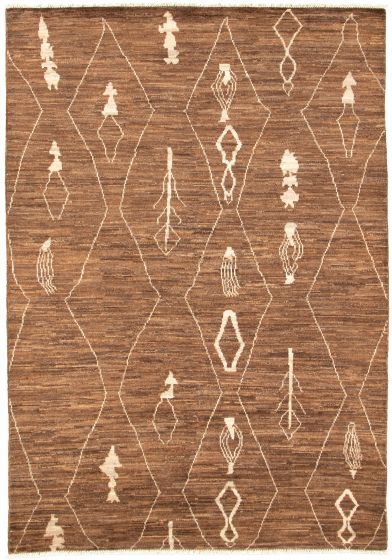 Moroccan  Tribal Brown Area rug 5x8 Pakistani Hand-knotted 310851