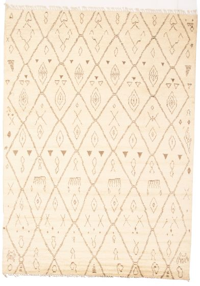 Moroccan  Tribal Ivory Area rug 9x12 Pakistani Hand-knotted 311238