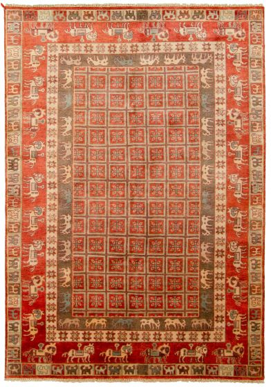 Tribal Red Area rug 5x8 Indian Hand-knotted 315378