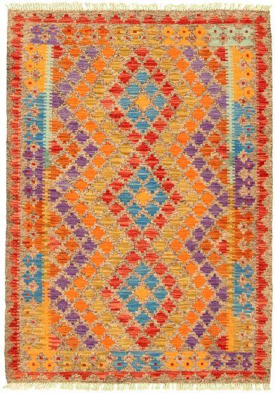 Bordered  Geometric Grey Area rug 3x5 Turkish Flat-weave 330205