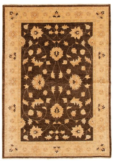 Bordered  Traditional Brown Area rug 6x9 Afghan Hand-knotted 331601