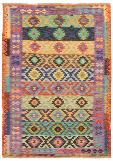 Bohemian  Transitional Blue Area rug 5x8 Turkish Flat-weave 336819