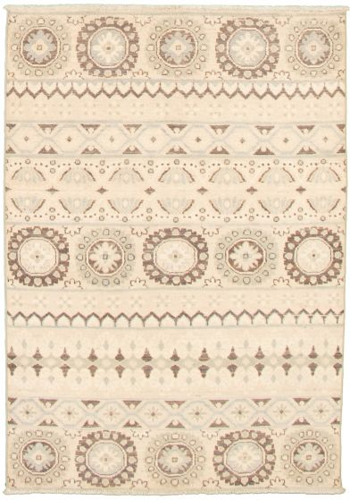Casual  Transitional Ivory Area rug 3x5 Pakistani Hand-knotted 338982