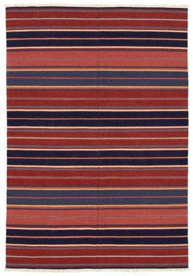 Bohemian  Stripes Red Area rug 5x8 Turkish Flat-weave 346045
