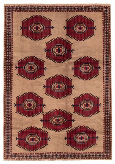 Bordered  Tribal Brown Area rug 6x9 Afghan Hand-knotted 358191