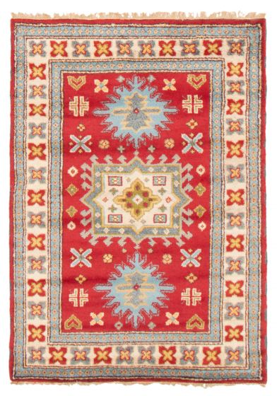 Bordered  Traditional Red Area rug 3x5 Indian Hand-knotted 364340