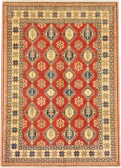 Traditional Red Area rug 6x9 Afghan Hand-knotted 164753