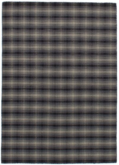Bohemian  Stripes Grey Area rug 4x6 Indian Flat-weave 259686
