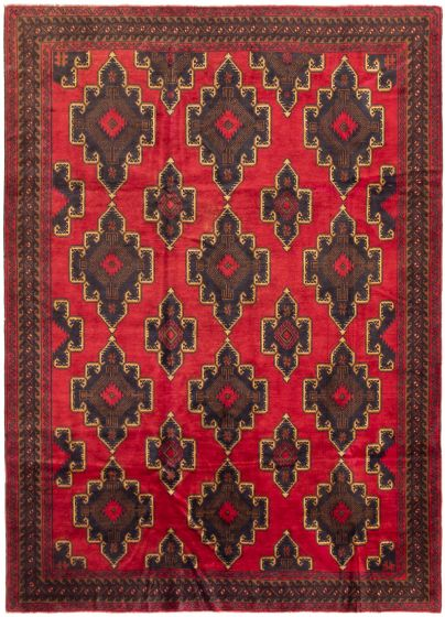 Bordered  Tribal Red Area rug 6x9 Afghan Hand-knotted 298262