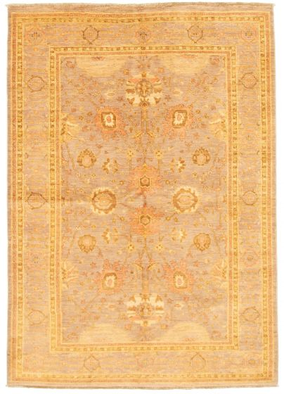 Bordered  Traditional Grey Area rug 5x8 Afghan Hand-knotted 331525