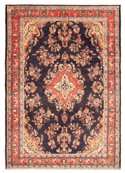 Bordered  Traditional Blue Area rug 6x9 Persian Hand-knotted 366591