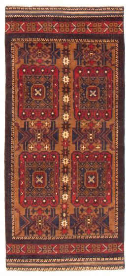 Geometric  Tribal Brown Runner rug 6-ft-runner Afghan Hand-knotted 367540