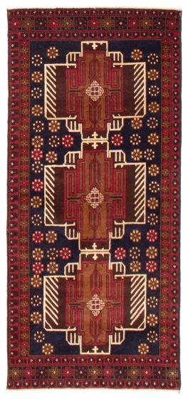 Geometric  Tribal Blue Runner rug 6-ft-runner Afghan Hand-knotted 367560
