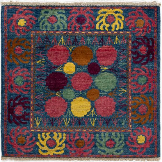 Bordered  Transitional Blue Area rug Square Indian Hand-knotted 280088