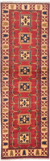 Tribal Brown Runner rug 9-ft-runner Afghan Hand-knotted 203298