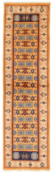 Bordered  Traditional Brown Runner rug 10-ft-runner Indian Hand-knotted 314348