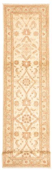 Bordered  Traditional Ivory Runner rug 12-ft-runner Afghan Hand-knotted 331494