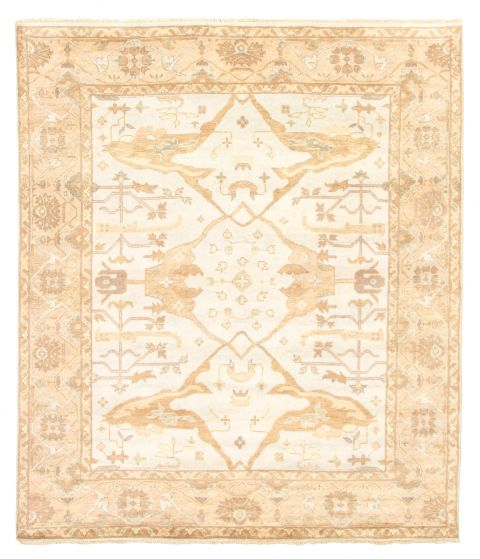 Bordered  Traditional Grey Area rug 6x9 Indian Hand-knotted 344898