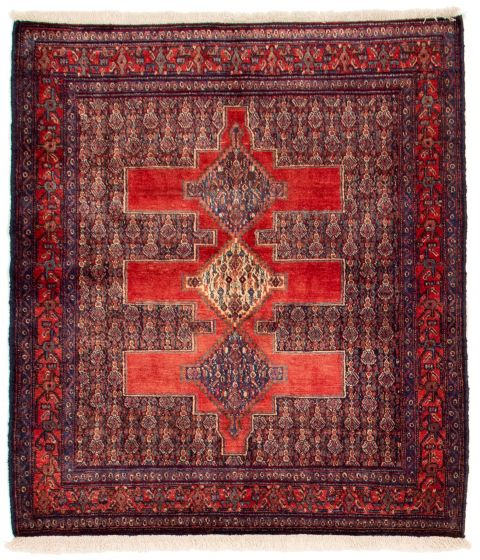 Bordered  Traditional Red Area rug Square Persian Hand-knotted 353700