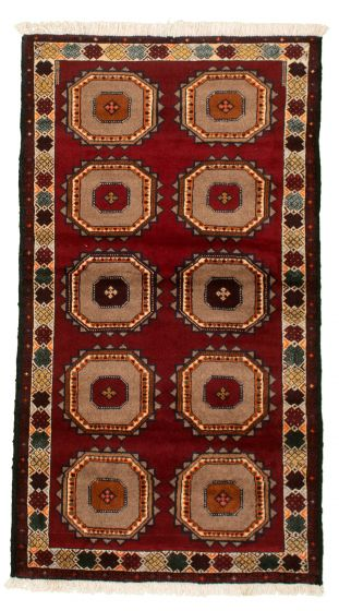 Bordered  Tribal Red Area rug 3x5 Afghan Hand-knotted 334145