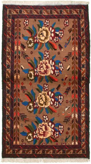 Bordered  Tribal Brown Area rug 3x5 Afghan Hand-knotted 334954