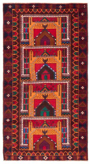 Geometric  Tribal Orange Area rug 4x6 Afghan Hand-knotted 367537