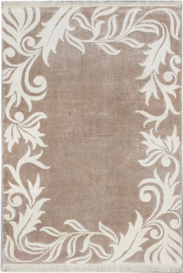 Transitional Brown Area rug 6x9 Nepal Hand-knotted 186899