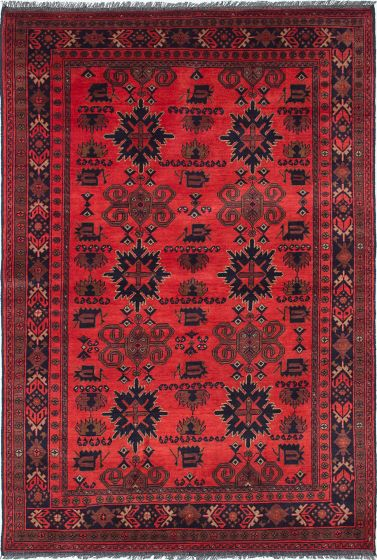 Traditional Brown Area rug 5x8 Afghan Hand-knotted 222404