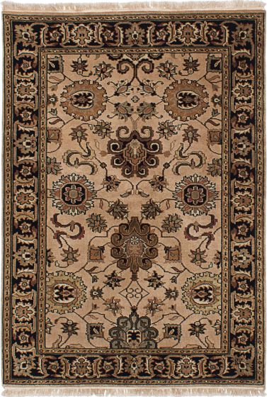 Traditional Brown Area rug 3x5 Indian Hand-knotted 227899