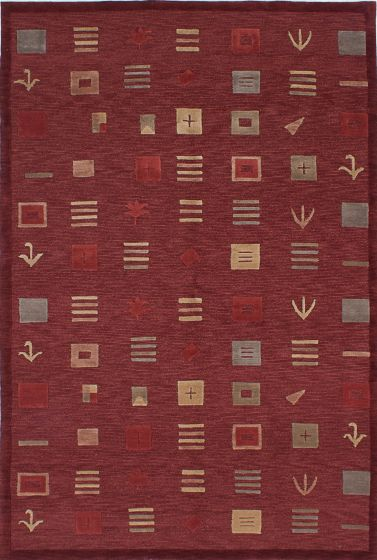 Transitional Red Area rug 5x8 Nepal Hand-knotted 227967
