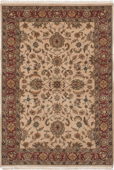 Traditional Ivory Area rug 3x5 Indian Hand-knotted 228100