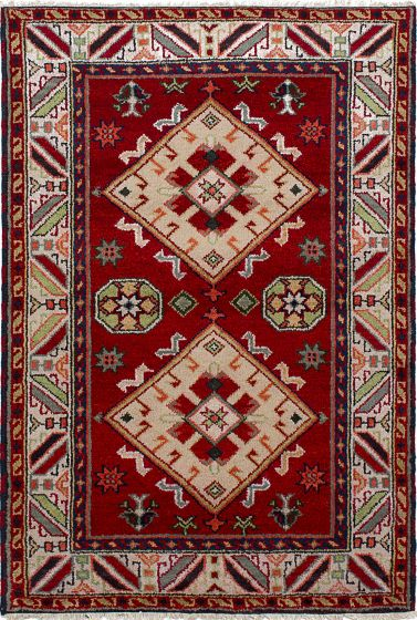 Bordered  Tribal Red Area rug 3x5 Indian Hand-knotted 233503