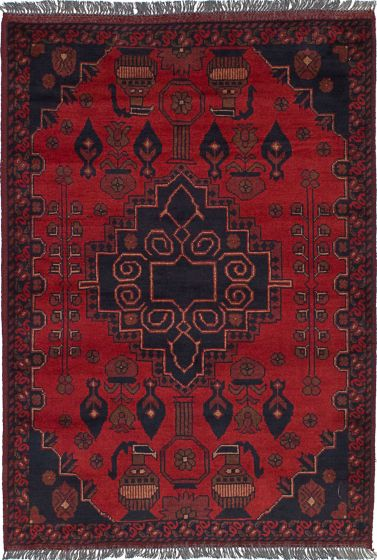 Traditional  Tribal Red Area rug 3x5 Afghan Hand-knotted 236321