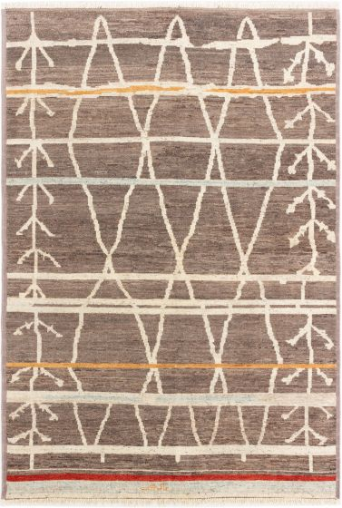Moroccan  Transitional Brown Area rug 5x8 Indian Hand-knotted 280521