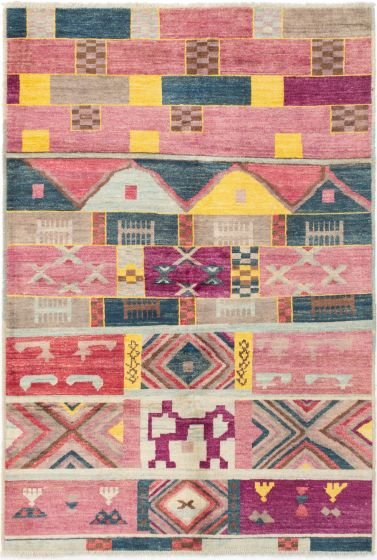 Casual  Transitional Pink Area rug 5x8 Indian Hand-knotted 280561
